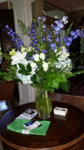 White Lillies and Blue Bells and Hydrangea