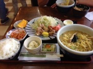 Ramen, Rice, Salmon and a Hard-Boiled Egg