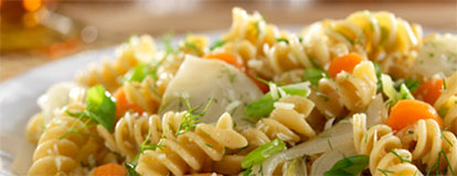 Rotini with Braised Fennel, Carrots & Scallions