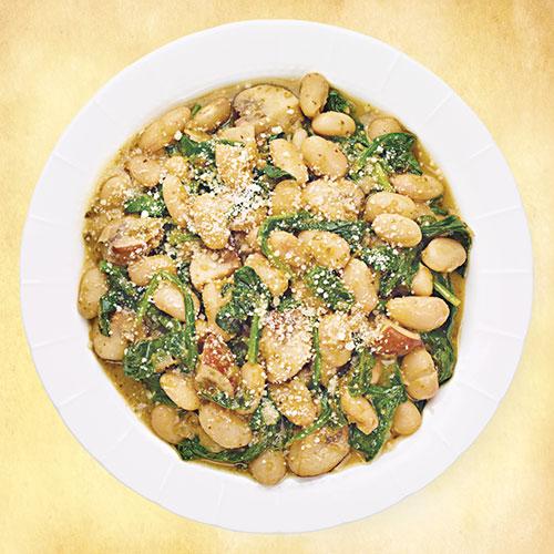 Tuscan Beans with Basil Pesto & Mushrooms