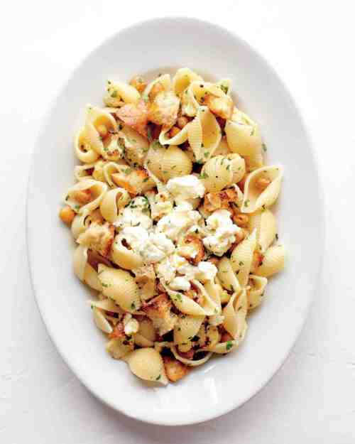 Shells with Roasted cauliflower, chickpeas, ricotta