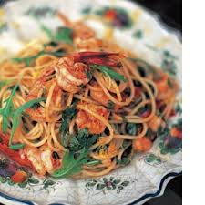 Spaghetti with Prawns and Arugula - photo from foodily.com