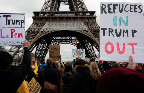 Protesters rally in Paris against US President Donald Trump's immigration order